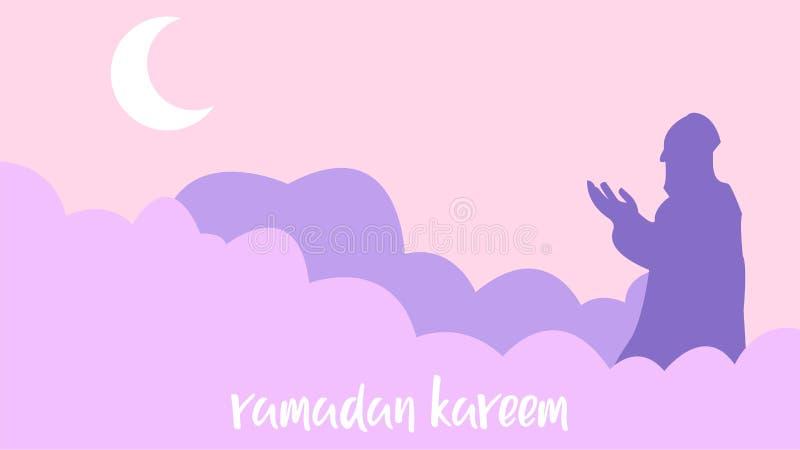 Fondo del kareem del Ramadán con los hombres que ruegan stock de ilustración