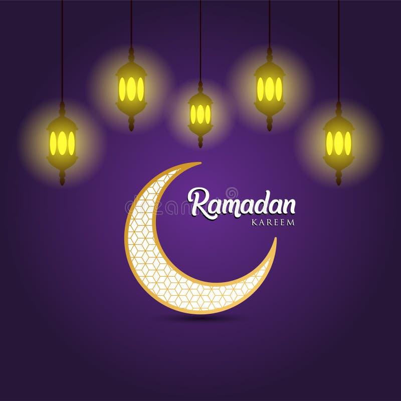 Fondo del kareem del Ramadan, illustrazione con le lanterne arabe e mezzaluna decorata dorata, su fondo porpora L'ENV 10 contiene illustrazione di stock