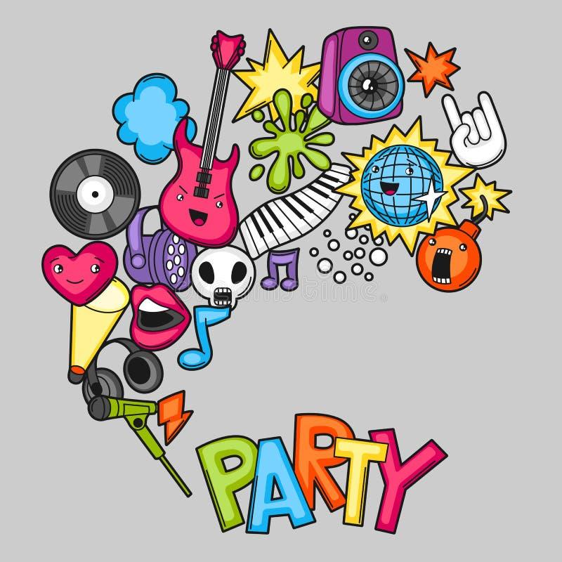 Fondo del kawaii del partido de la música Instrumentos musicales, símbolos y objetos en estilo de la historieta ilustración del vector