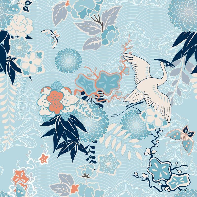 Fondo del kimono con la grúa y las flores stock de ilustración