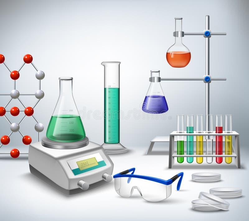 Fondo del laboratorio de ciencia stock de ilustración