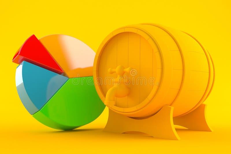 Fondo del lagar con el gráfico de sectores libre illustration