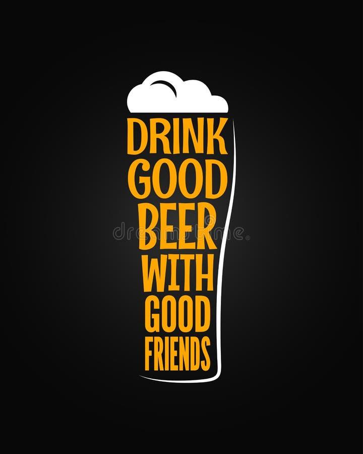 Fondo del lema del concepto del vidrio de cerveza ilustración del vector