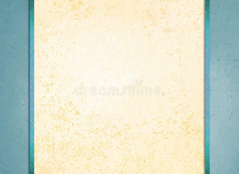 Fondo del Libro Blanco con las rayas de la frontera azul y de la cinta azul ilustración del vector