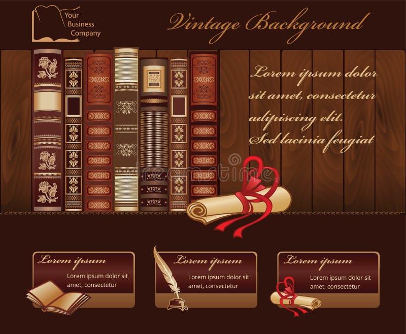 Fondo del libro del vintage stock de ilustración