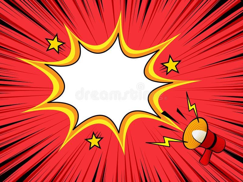 Fondo del libro di fumetti con l'annuncio del megafono illustrazione di stock