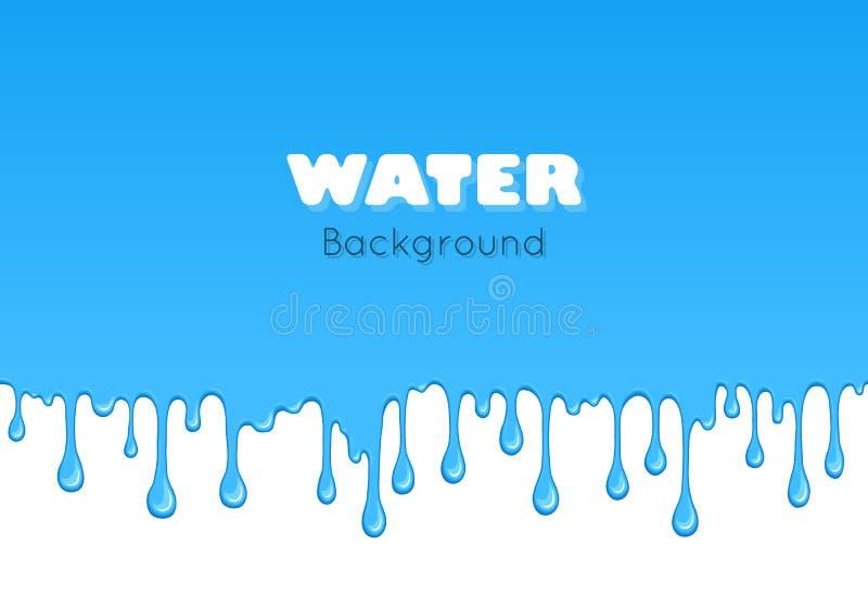 Fondo del liquido del blu di goccia illustrazione di stock
