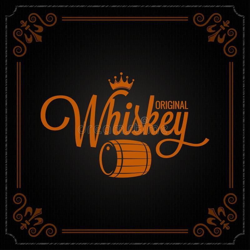 Fondo del logotipo del diseño de la etiqueta del barril del whisky libre illustration