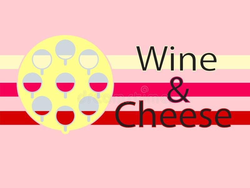Fondo del Logotype del formaggio e del vino Progettazione piana illustrazione di stock