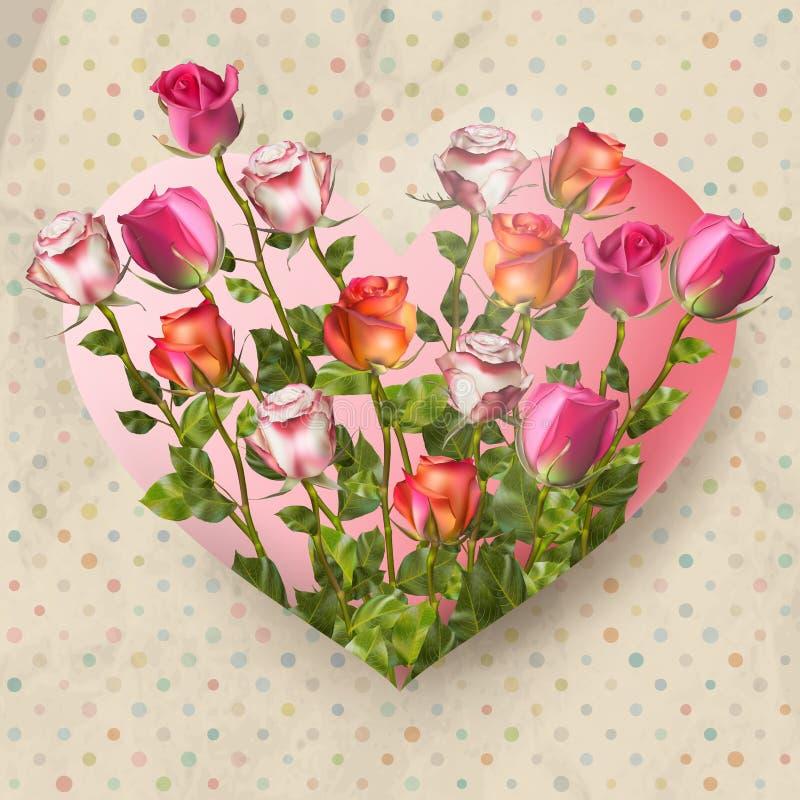 Fondo del lunar con las rosas EPS 10 stock de ilustración