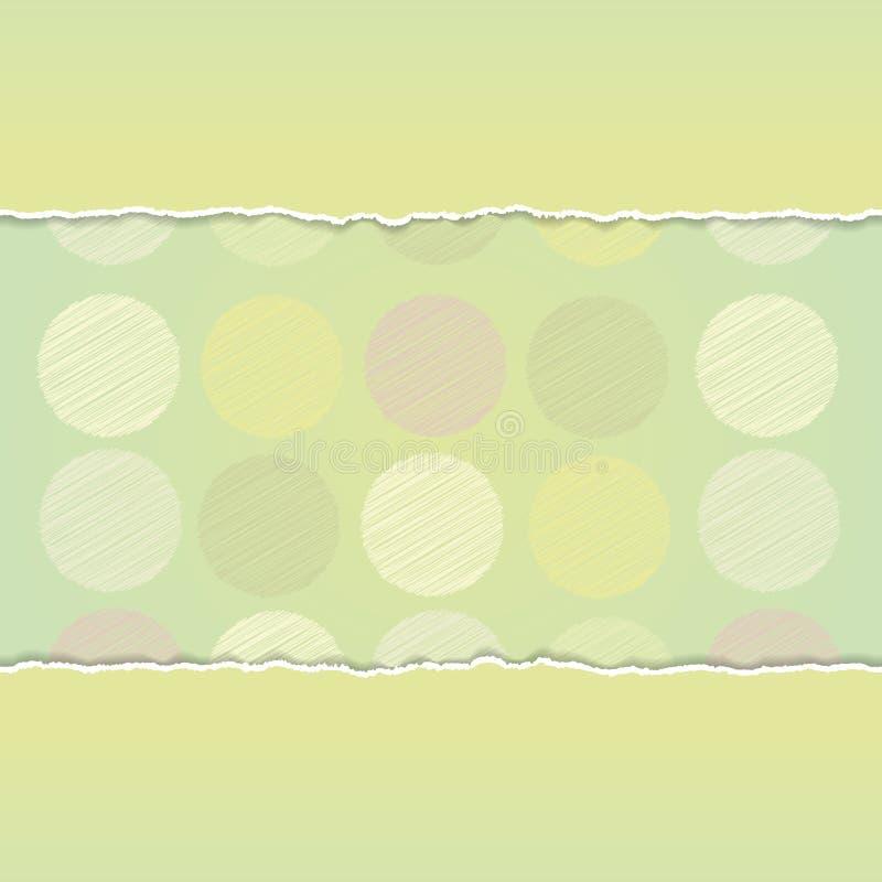 Fondo del lunar del diseño de tarjeta del vintage, punto del garabato en fondo verde Vector ilustración del vector