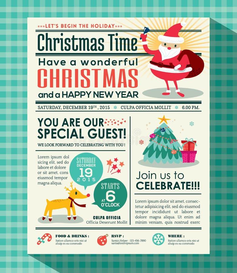 Fondo del manifesto della festa di Natale nello stile del giornale royalty illustrazione gratis