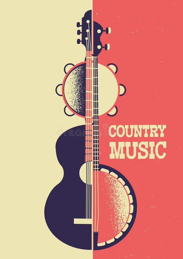 Fondo del manifesto di musica country con gli strumenti musicali e dicembre illustrazione di stock