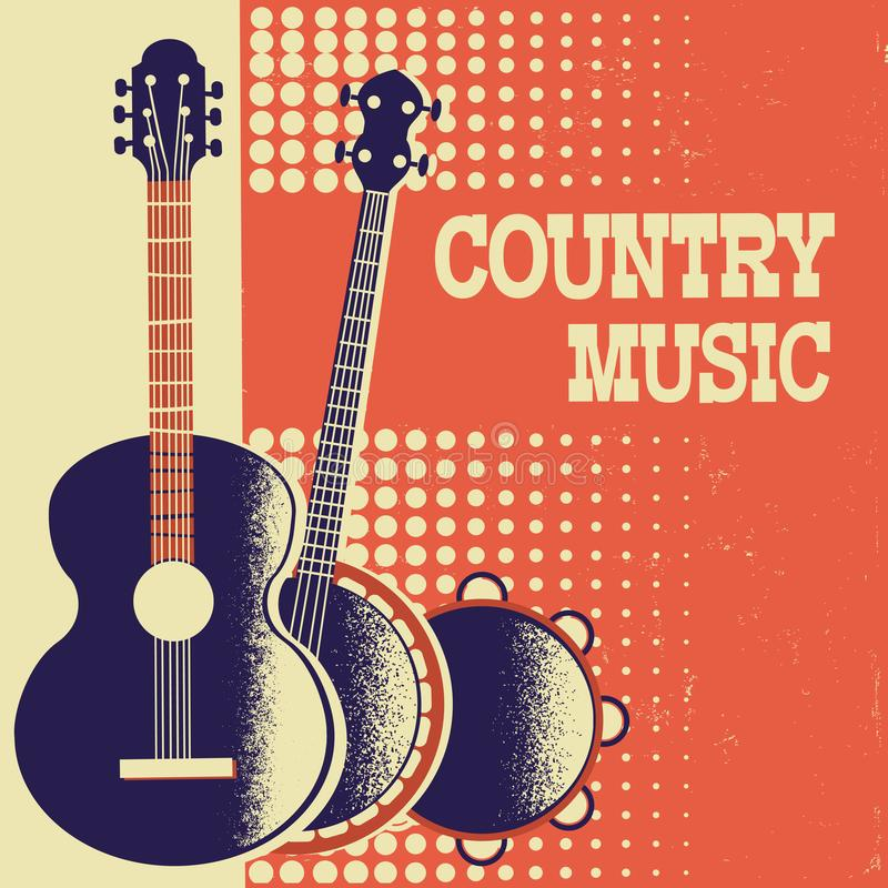 Fondo del manifesto di musica country con gli strumenti musicali su vecchio illustrazione di stock