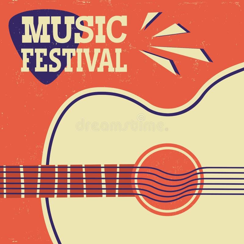 Fondo del manifesto di musica retro con la chitarra acustica su vecchia carta illustrazione di stock
