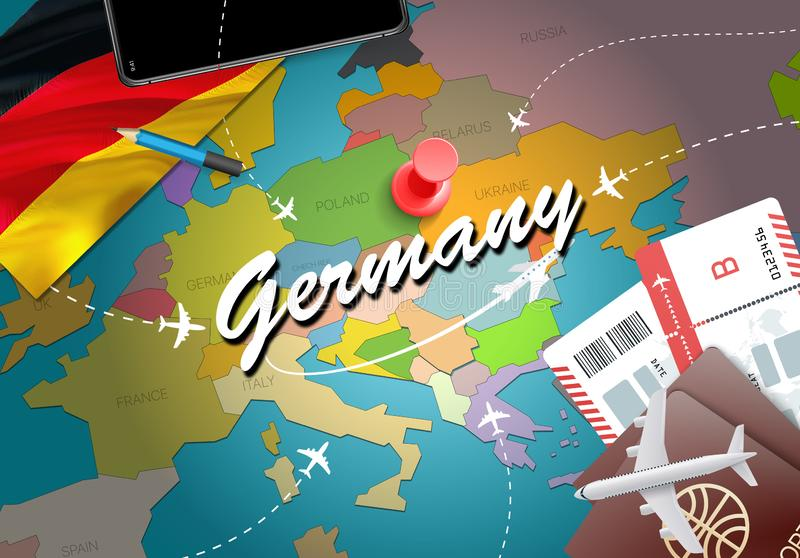 Fondo del mapa del concepto del viaje de Alemania con los aviones, boletos Visi stock de ilustración