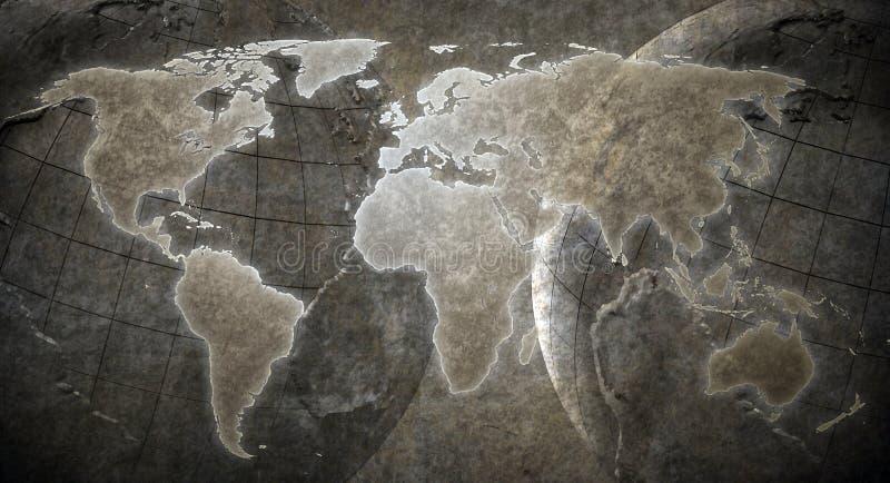 Fondo del mapa del mundo del Grunge foto de archivo libre de regalías
