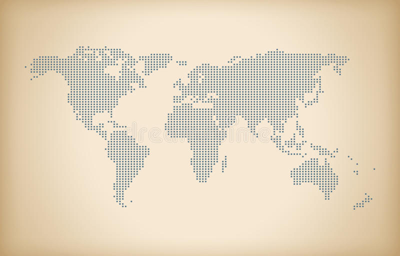 Fondo del mapa del mundo del vintage, mapa del mundo del dotedl, mapa de alta tecnología, stock de ilustración