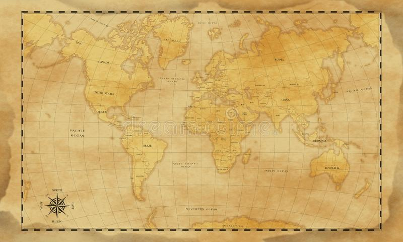 Fondo del mapa del mundo del estilo del vintage fotografía de archivo libre de regalías