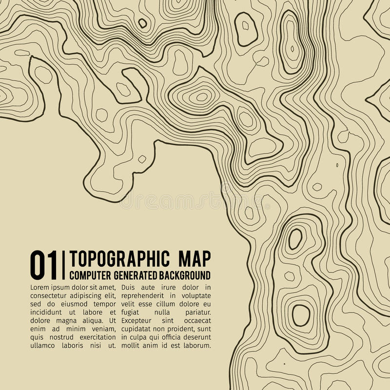 Fondo del mapa topográfico con el espacio para la copia Línea fondo del contorno del mapa de la topografía, extracto geográfico d libre illustration