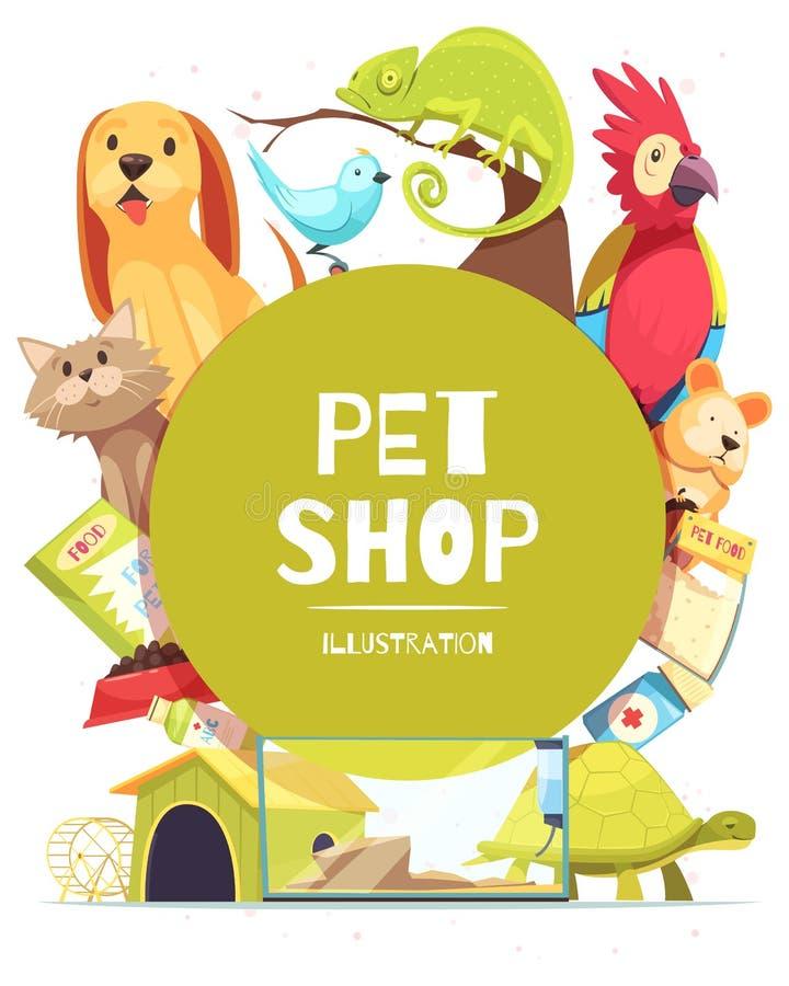 Fondo del marco de la tienda de animales stock de ilustración