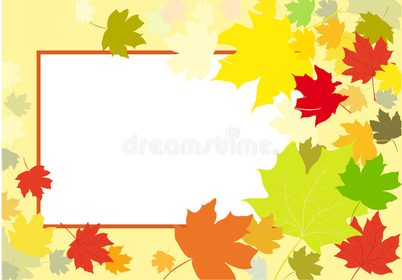 Fondo del marco de las hojas de otoño stock de ilustración