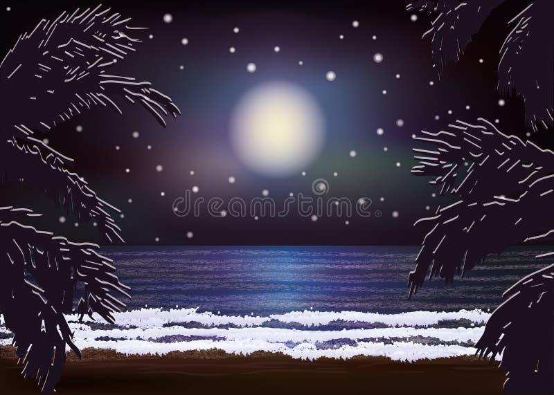 Fondo del mare di notte, vettore illustrazione di stock