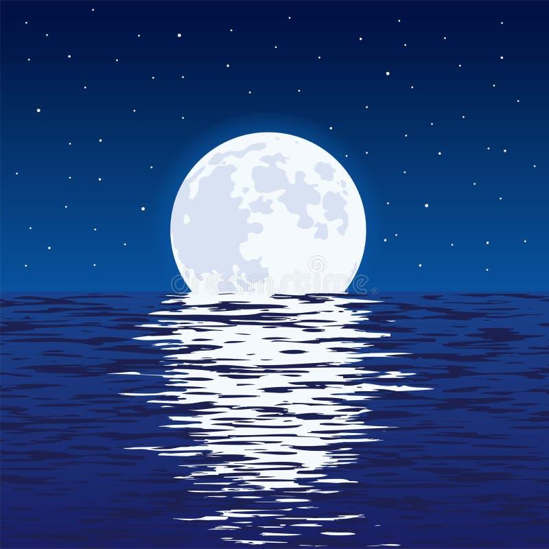 Fondo del mare e della luna piena blu alla notte illustrazione vettoriale