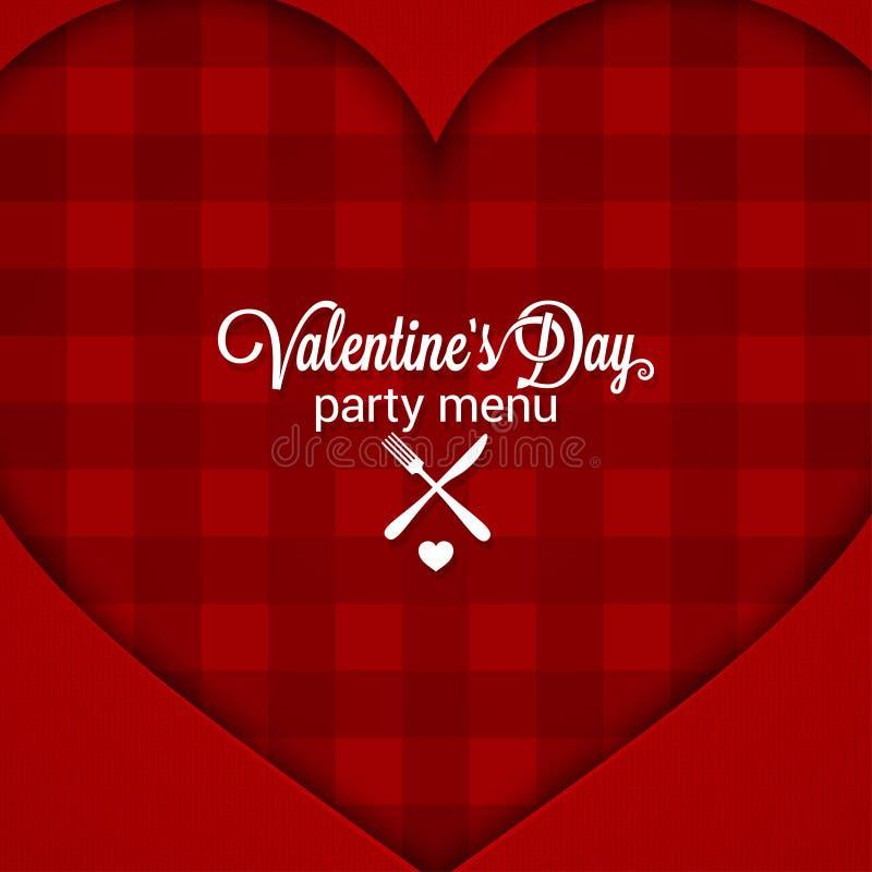 Fondo del menú del partido de cena del día de tarjetas del día de San Valentín stock de ilustración