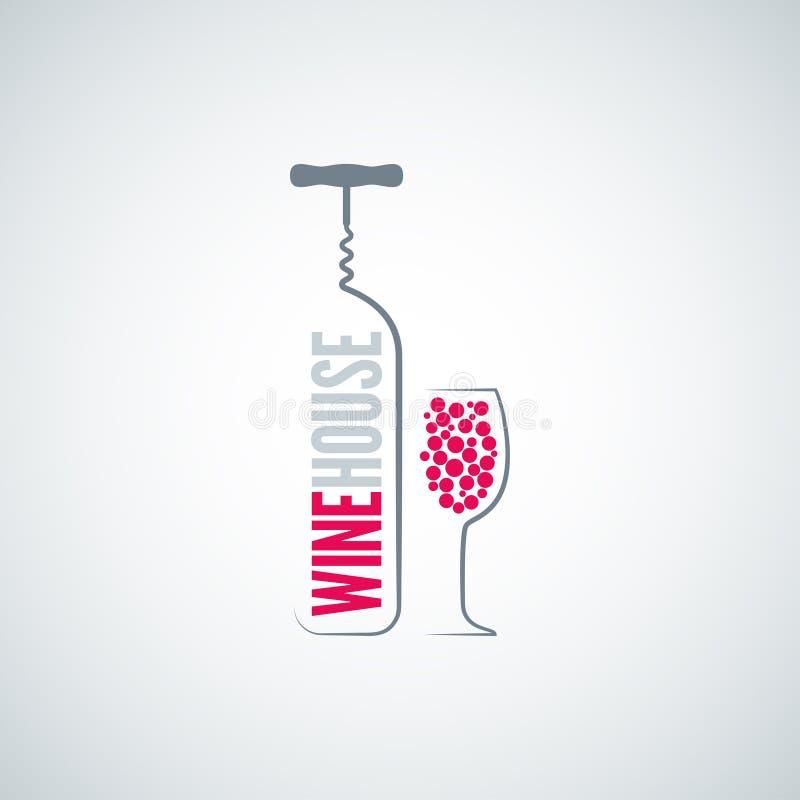 Fondo del menu del vetro da bottiglia del vino illustrazione di stock