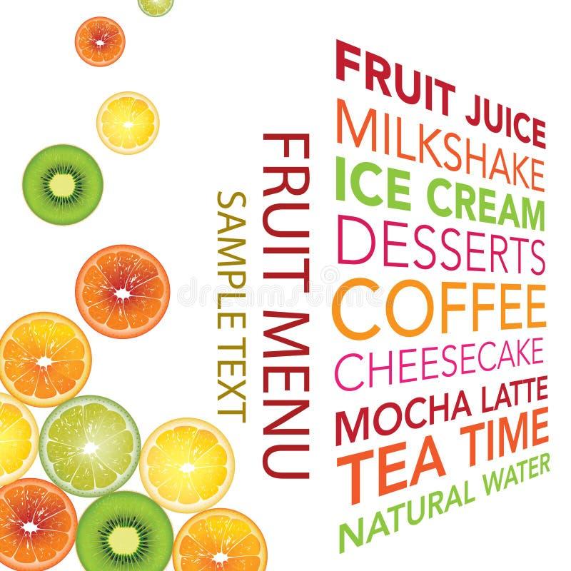 Fondo del menu della frutta fotografie stock