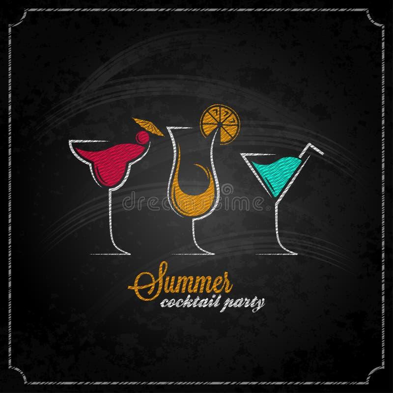 Fondo del menu di progettazione del gesso del partito di estate del cocktail illustrazione di stock
