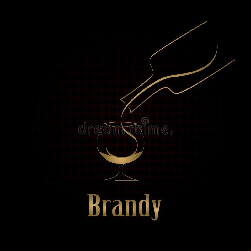 Fondo del menu di progettazione di vetro di brandy illustrazione vettoriale