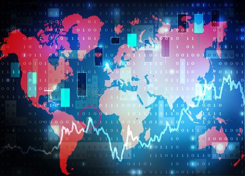 Fondo del mercado de acción del mapa del mundo stock de ilustración