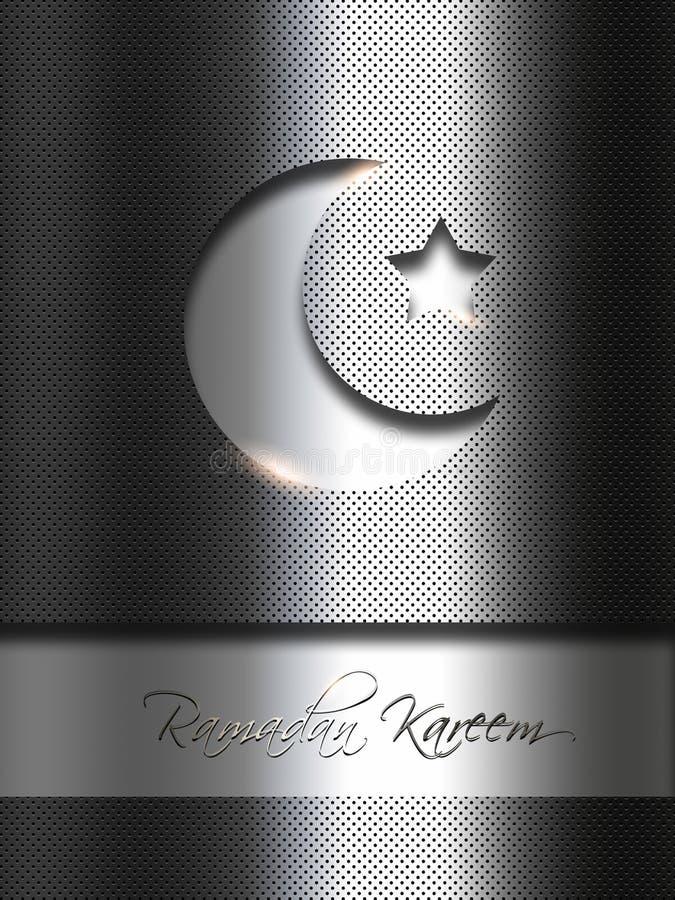 Fondo del metal con deseos del kareem del Ramadán stock de ilustración