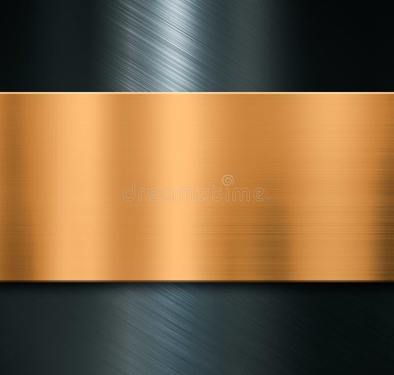 Fondo del metal con el ejemplo cepillado de la placa de bronce 3d fotos de archivo