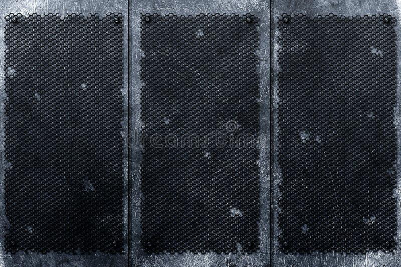 Fondo del metal de Grunge remache en parrilla y la placa de metal negras stock de ilustración
