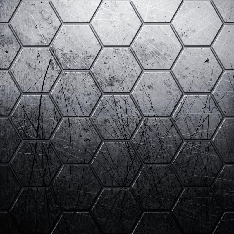 Fondo del metal del hexágono del Grunge stock de ilustración
