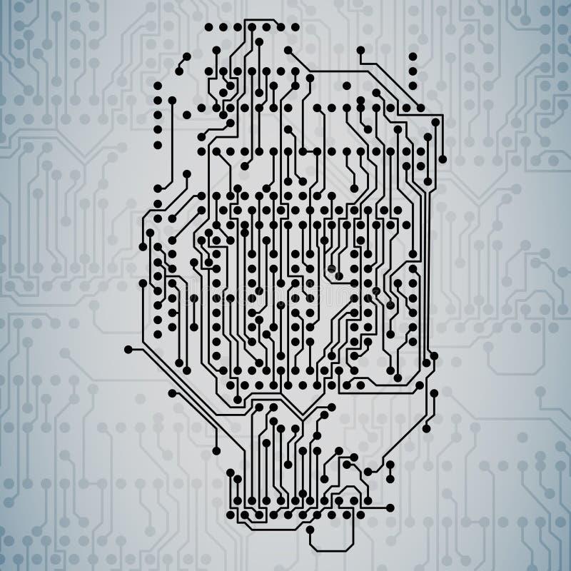 Fondo del microchip, circuito de la electrónica, EPS10 ilustración del vector