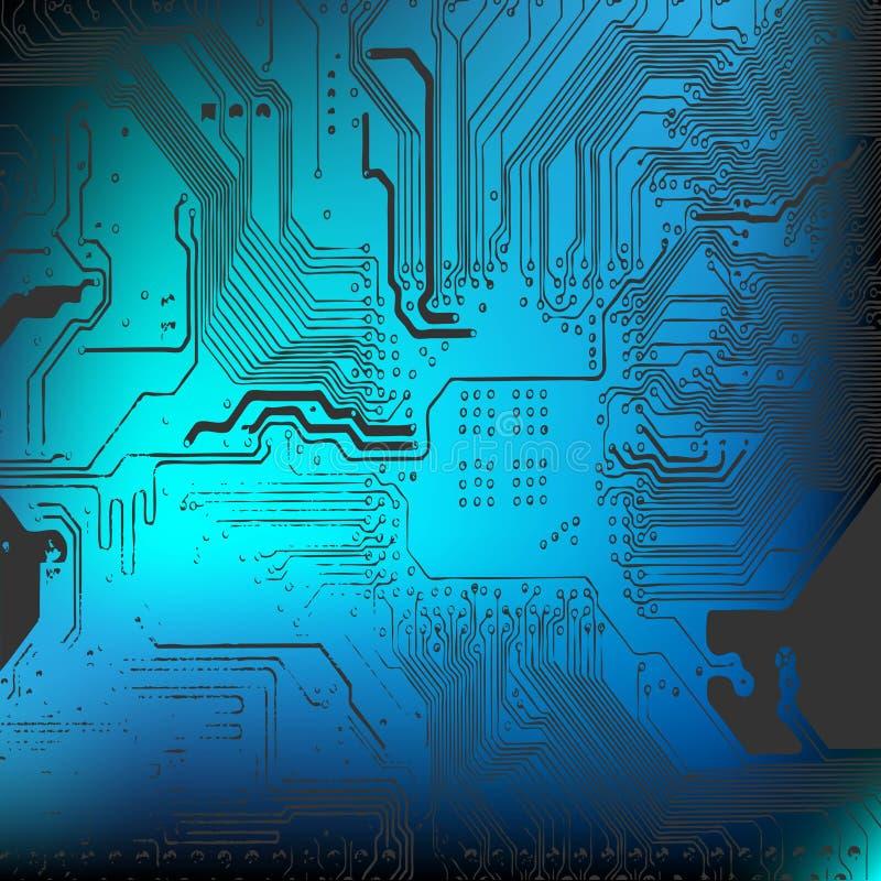 Fondo del microchip - primer del tablero electrónico stock de ilustración