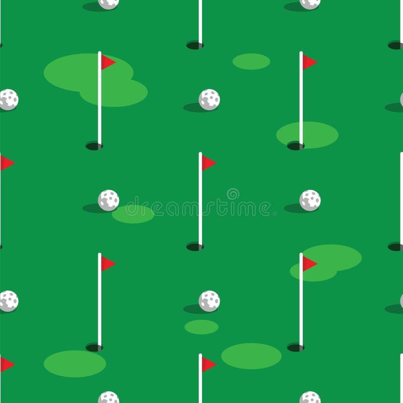 Fondo del modello del campo da golf Erba verde e foro sul campo di golf Bandiere e palle sul campo da golf verde senza cuciture illustrazione vettoriale