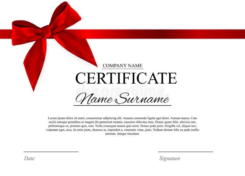 Fondo del modello del certificato con l'arco rosso Spazio in bianco di progettazione del diploma del premio Illustrazione di vett illustrazione di stock
