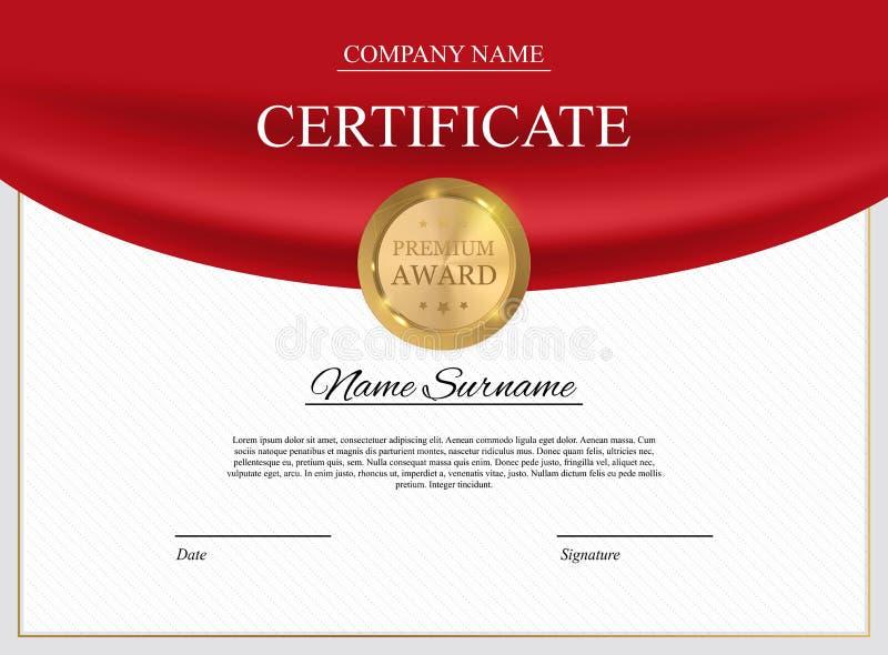 Fondo del modello del certificato Spazio in bianco di progettazione del diploma del premio Illustrazione di vettore royalty illustrazione gratis