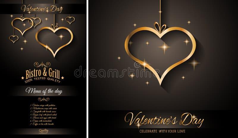 Fondo del modello del menu del ristorante di giorno del ` s del biglietto di S. Valentino per la cena romantica illustrazione vettoriale