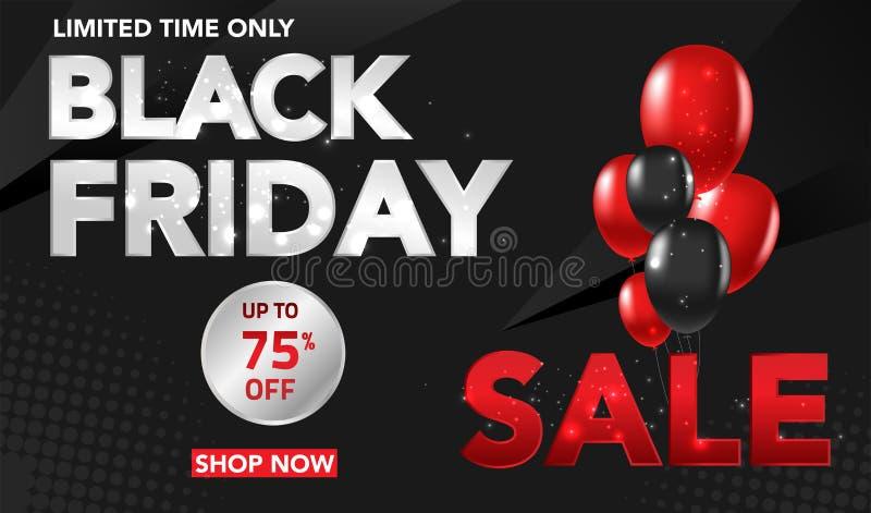 Fondo del modello dell'insegna di vendita di Black Friday con gli impulsi e il conffeti rossi e neri Offerta speciale conclusione royalty illustrazione gratis