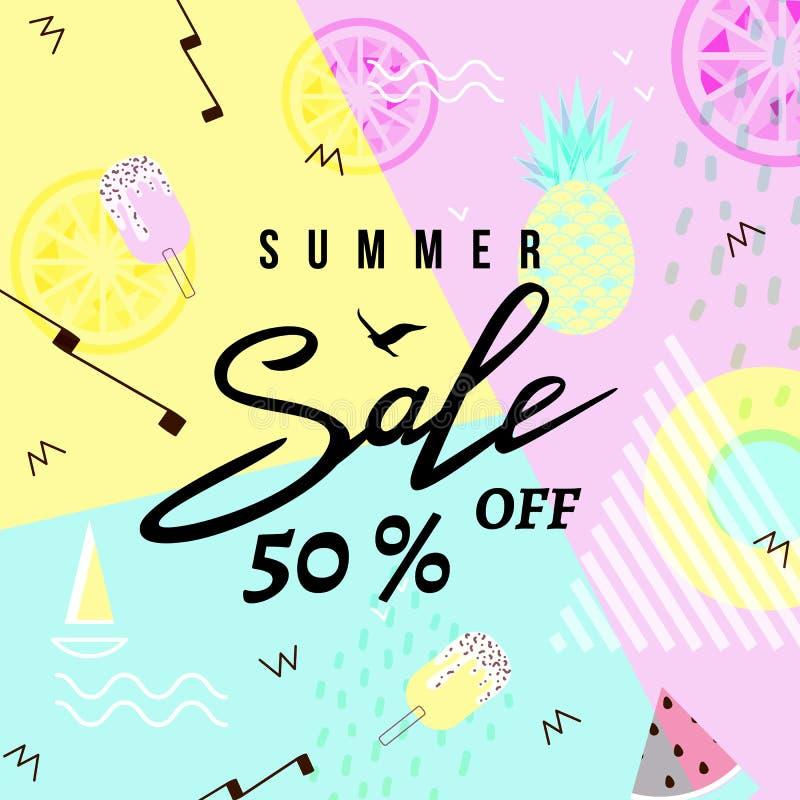 Fondo del modello dell'insegna di vendita di estate Illustrazione di vettore illustrazione di stock