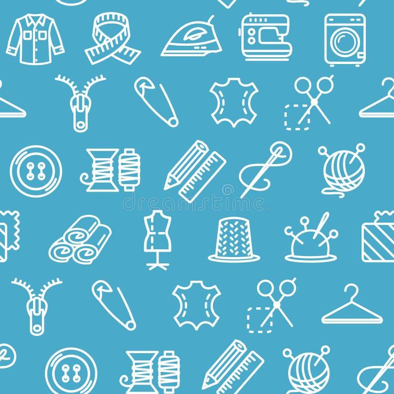 Fondo del modello dello strumento del cucito e di cucito su un blu Vettore illustrazione di stock