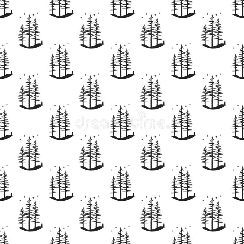 Fondo del modelo del árbol de pino Ejemplo inconsútil simple de abetos grabados monocromáticos Papel pintado común del vector par stock de ilustración