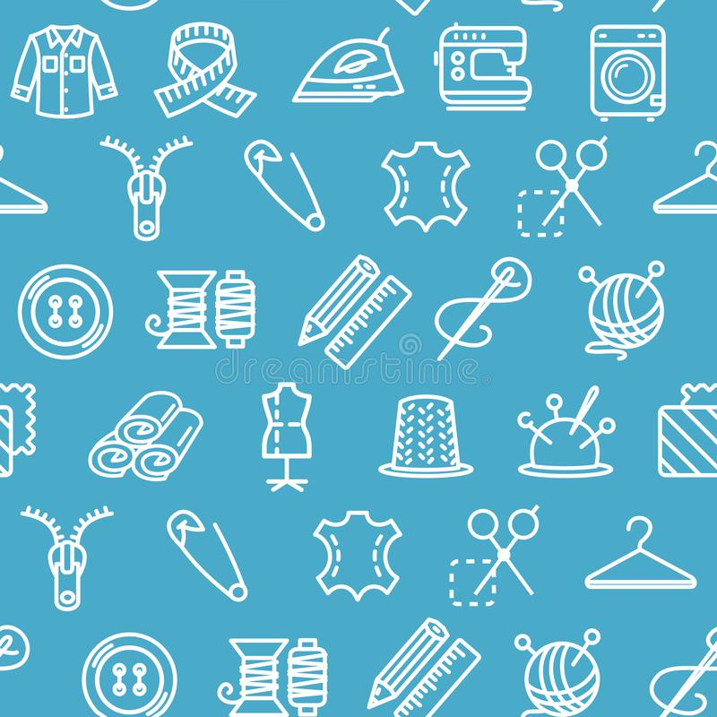 Fondo del modelo de la herramienta de la costura y de la costura en un azul Vector stock de ilustración