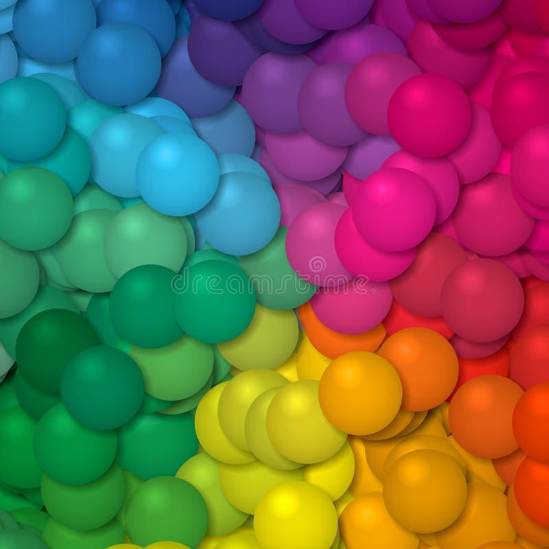Fondo del modelo de las bolas del arco iris del espectro de colores completos ilustración del vector